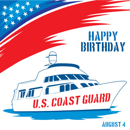 guard ship: An abstract illustration with United States flag colors for United States Coast Guard birthday