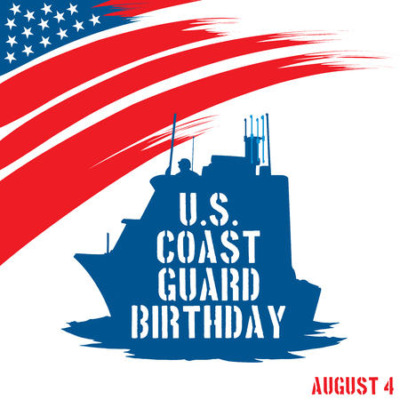 coast guard: An abstract illustration with United States flag colors for United States Coast Guard birthday