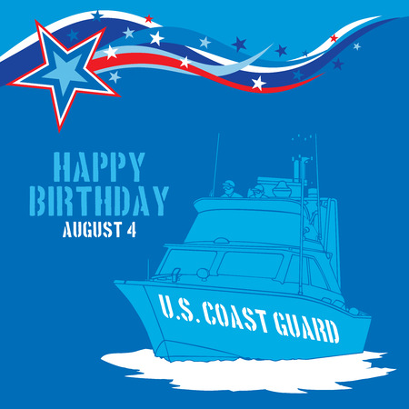 guard ship: An abstract illustration of stars and stripes for United States Coast Guard birthday