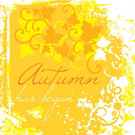 begun: Autumn has begun on a grungy floral background