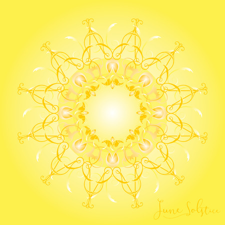 solstice: A geometric design for summer solstice day in June on a yellow background Stock Photo