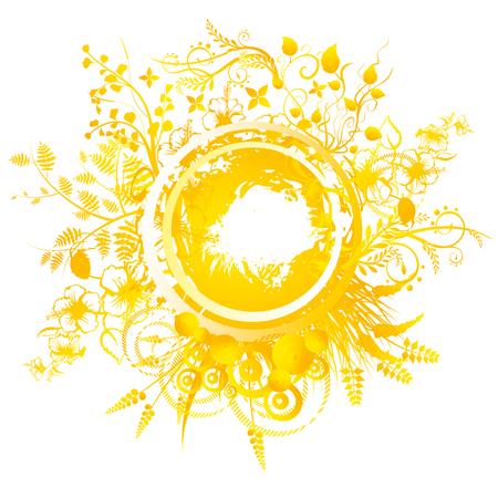 흰색 배경 6 월에 여름 최고점 하루 원형 기하학적 디자인