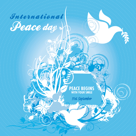 elaborate: Two doves carrying an olive branch with elaborate floral designs for International Peace Day