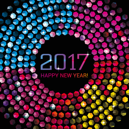 Three dimensional illustration of hexagonal disco lights to celebrate the New Year