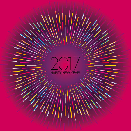 New Year numerals set on glowing fuchsia background with radiating neon lights Stock Photo