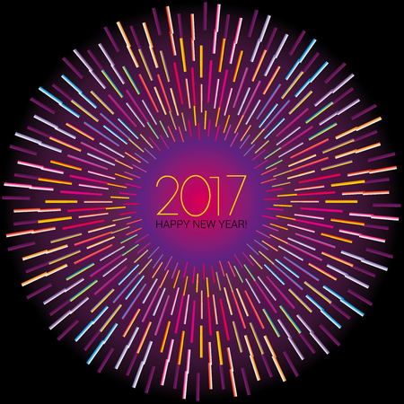 New Year numerals set on black background with radiating neon lights