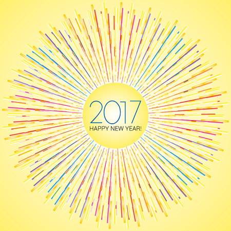 New Year numerals set on light yellow background with radiating stokes of lines