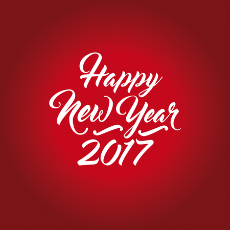 Happy New Year numerals with hand-lettering text on a red background