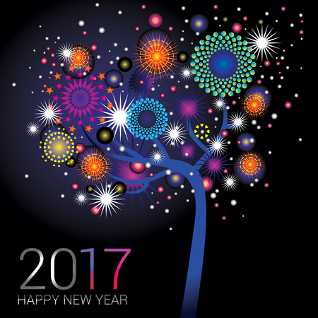 happy new year banner: Colorful fireworks on a happy glowing tree design Stock Photo
