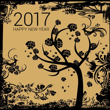 happy new year banner: Happy tree with black roses on a golden grungy background with New Year numerals
