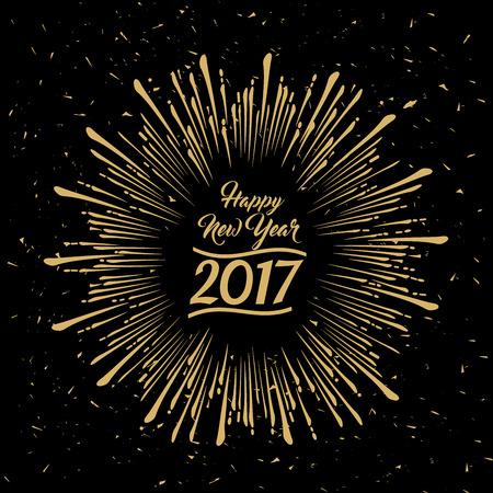 새해 복 많이 받으세요 먼지와 긁힘의 효과와 검은 배경에 지저분한 스타 버스트 골드 디자인을 방사 스톡 콘텐츠