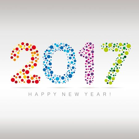 new year card: Flat multicolor New Year numerals with bubbles design on a subtle background