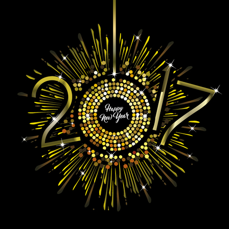 Gold Clock with New Year numerals on a radiating grunge black background
