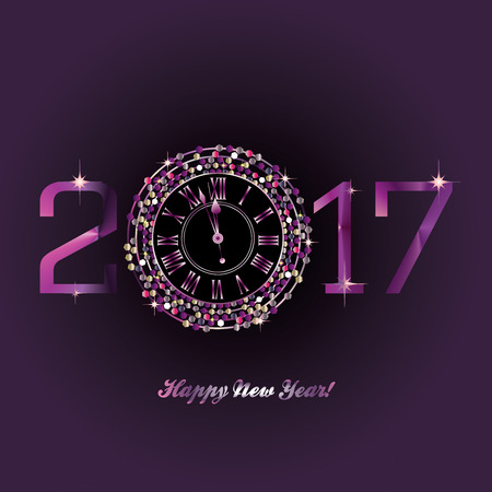 purple clock with new year numerals on a deep purple background stock photo picture and royalty free image image 61467845