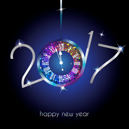 Rainbow clock with New Year numerals on a blue background