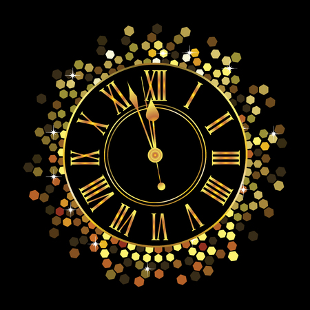 Gold Clock with hexagon circular pattern on black background Stock Photo