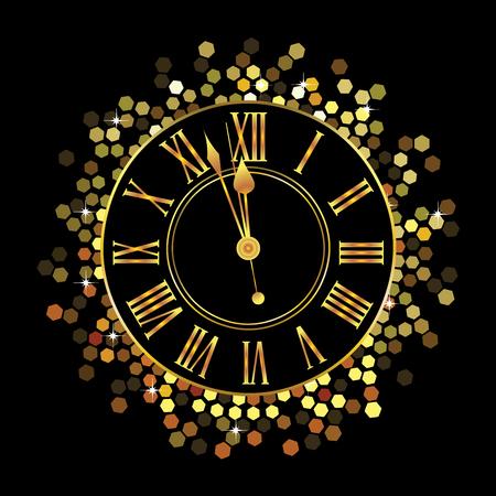 Horloge or avec hexagone motif circulaire sur fond noir