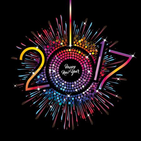 방출 grunge 검정색 배경에 신년 숫자와 함께 무지개 시계