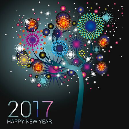 happy new year banner: Teal fireworks on a happy glowing tree design