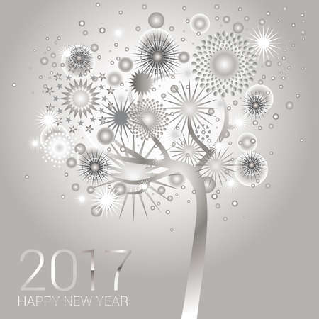 new year card: Silver fireworks on a happy glowing tree design