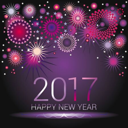 happy new year banner: Happy New Year numerals with colorful fireworks design on an purple gradient background