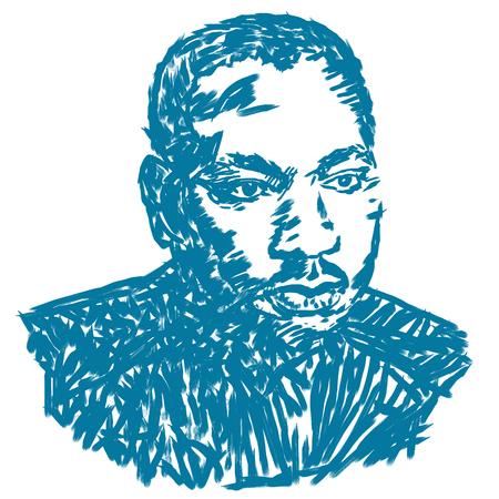 흰색 배경에 마틴 루터 킹 초상화의 삽화