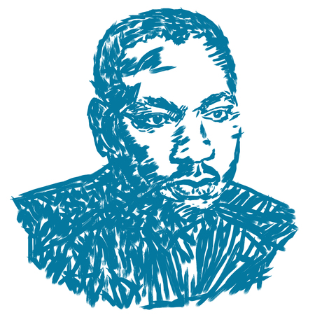 An illustration of a portrait of Martin Luther King on a white background