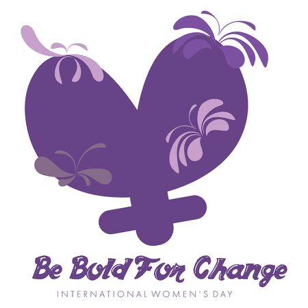 simbolo de la mujer: Abstract violet mnemonic design on white background with the caption Be Bold for Change for International Womens Day