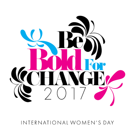 Abstract Cyan Magenta Black butterflies on white background with the caption Be Bold for Change for International Womens Day Stock Photo