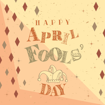 Happy April Fools Day text on a dull party background Stock Photo