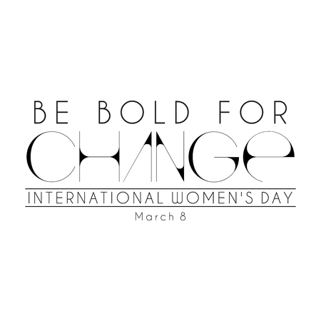 Abstract black mnemonic design on white background with the caption Be Bold for Change for International Womens   Day Stock Photo