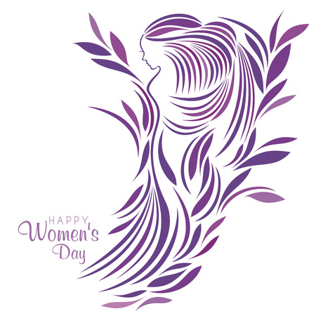 mother earth: An illustration of a floral purple princess in celebration of International Womens Day