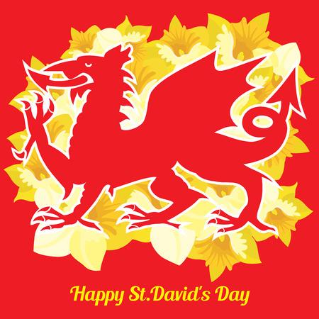 ウェールズの赤いドラゴンと赤の背景に美しい黄色の水仙 写真素材