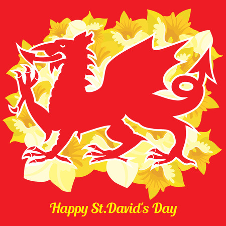 A red Welsh dragon and beautiful yellow daffodils on a red background Stock Photo
