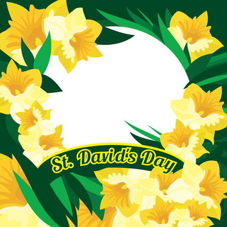 An abstract illustration of daffodils and leaves with the text St Davids Day set around a circular blank white frame Banco de Imagens