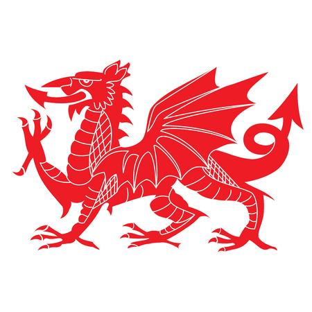 흰 배경에 고립 된 붉은 웨일스 어 드래곤