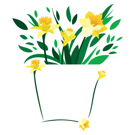 yellow stem: Few daffodils and leaves set on an abstract blank vase on an isolated white background