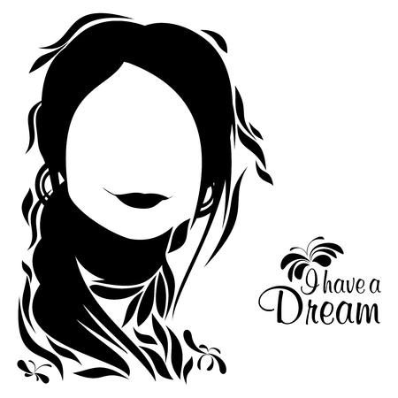 An abstract illustration of a woman  with the text I have a dream on a white isolated background