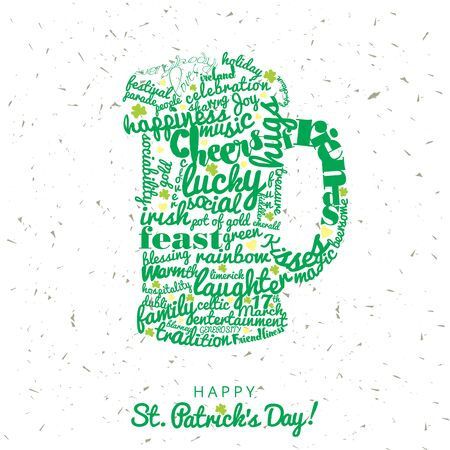 Green typography on beer mug on a white grunge background in celebration for Saint Patricks Day Stock Photo
