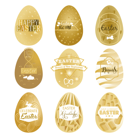A set of nine gold Easter egg labels on an isolated white background Stock Photo