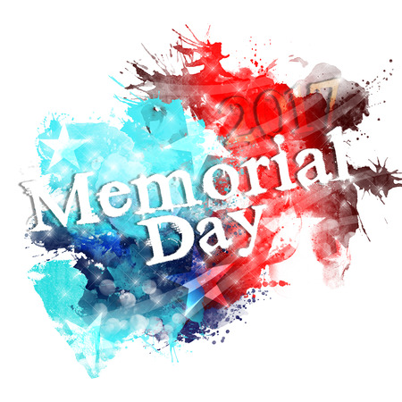 An abstract illustration of United States flag colors with stars and stripes on a white   background for Memorial day 2017