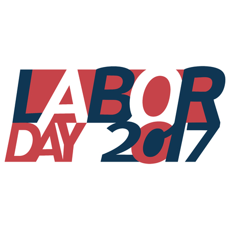 Happy Labor day text in Unites States flag colors with New Year numerals