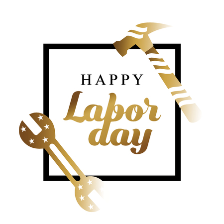 Happy Labor day gold typographic design with tools on a white background