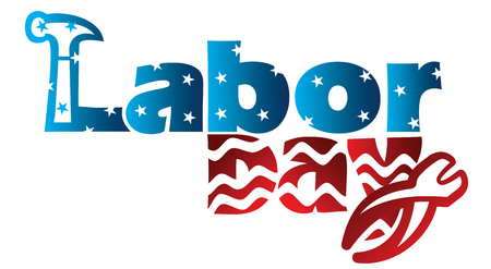 An abstract typographic mnemonic with stars and stripes on Labor Day