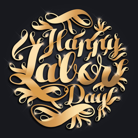 Happy Labor day gold typographic design on a black background Stock Photo