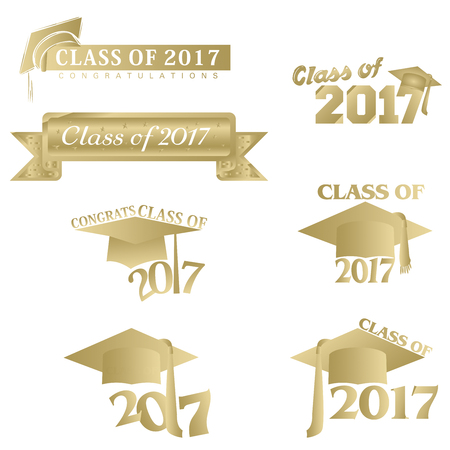 clases: Seven mnemonics on Class of 2017 in gold on a white background Foto de archivo