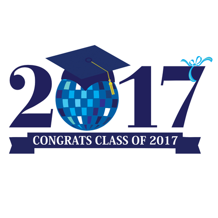 Congrats Class of 2017 with a disco ball in blue Stock Photo
