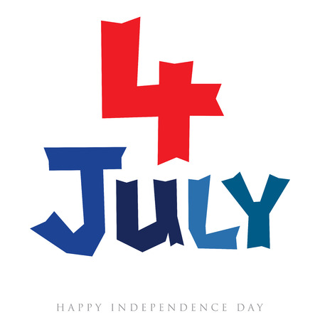 Abstract 4th of July numeral and typography design Stock Photo