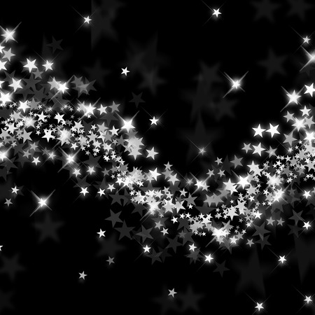 Wave of stars on a black background