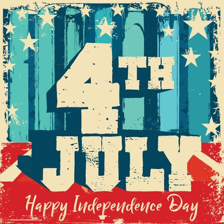 Fourth of July mnemonic on a red and blue wall and floor grunge background   with stars and stripes in retro flag colors
